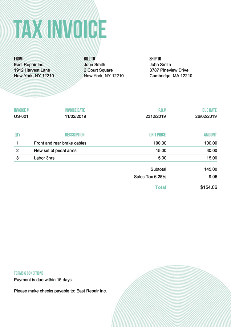 Tax Invoice Template Us Circles Turquoise No Logo