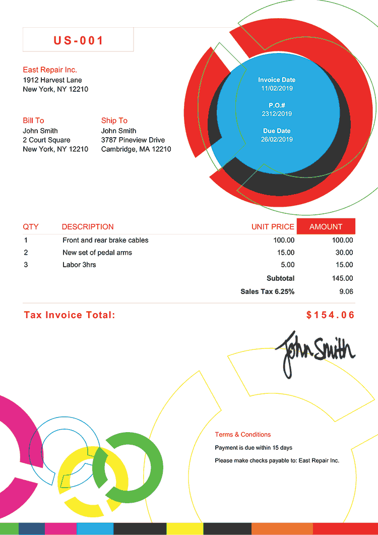 Tax Invoice Template Us Connect Multi