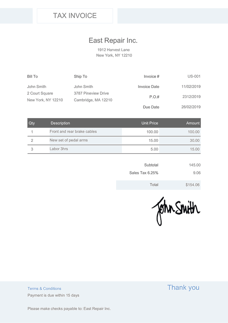 Tax Invoice Template Us Effortless Aster