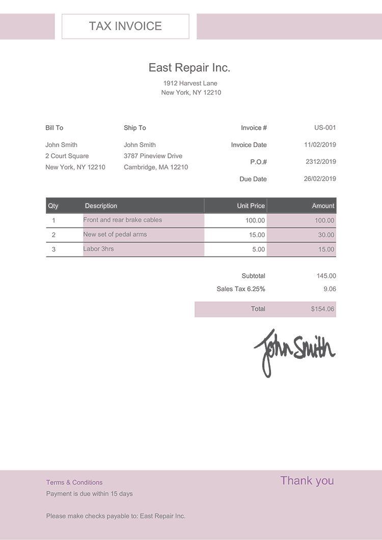 Tax Invoice Template Us Effortless Lilac