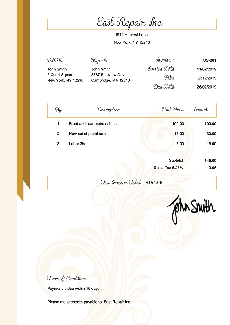 Tax Invoice Template Us Elegance Gold