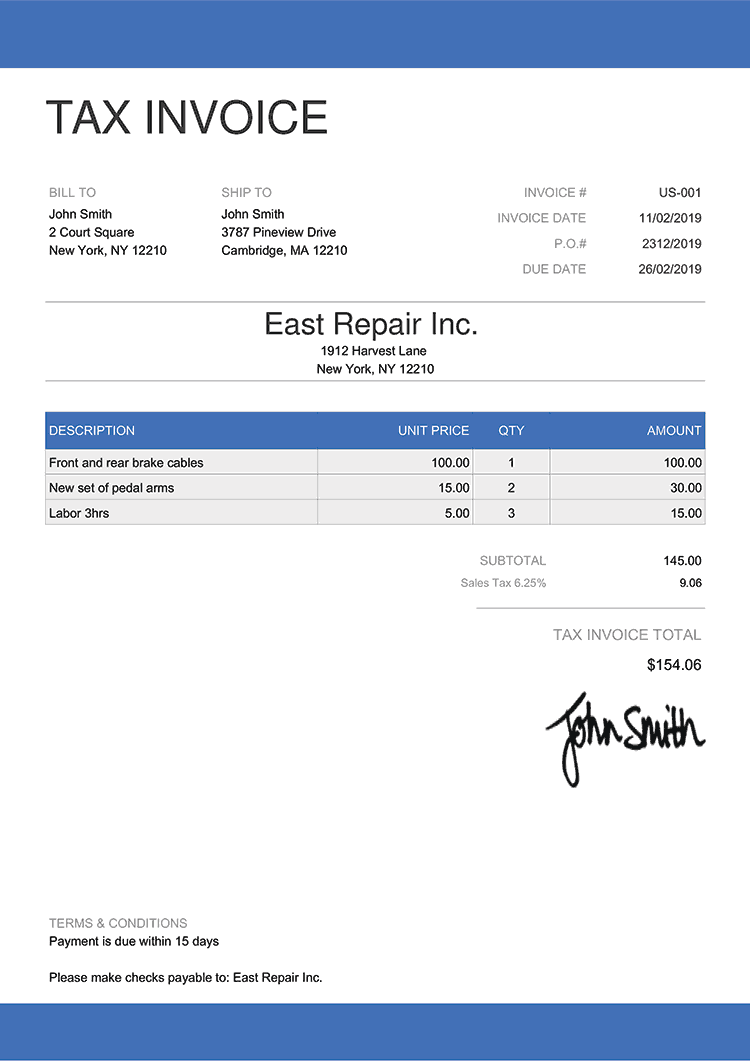 Tax Invoice Template Us Enterprise Blue