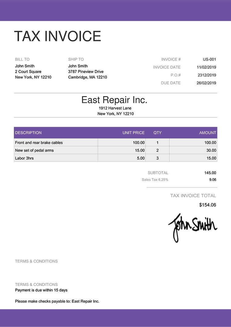 Tax Invoice Template Us Enterprise Purple