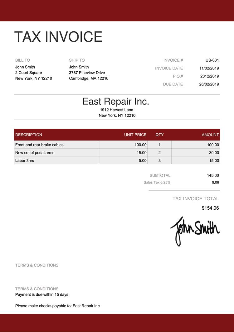 Tax Invoice Template Us Enterprise Red