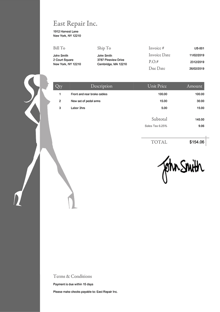 Tax Invoice Template Us Fashionista Gray