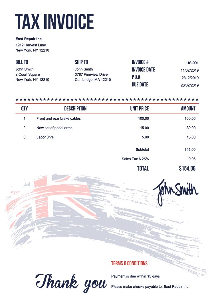 Tax Invoice Template Us Flag Of Australia