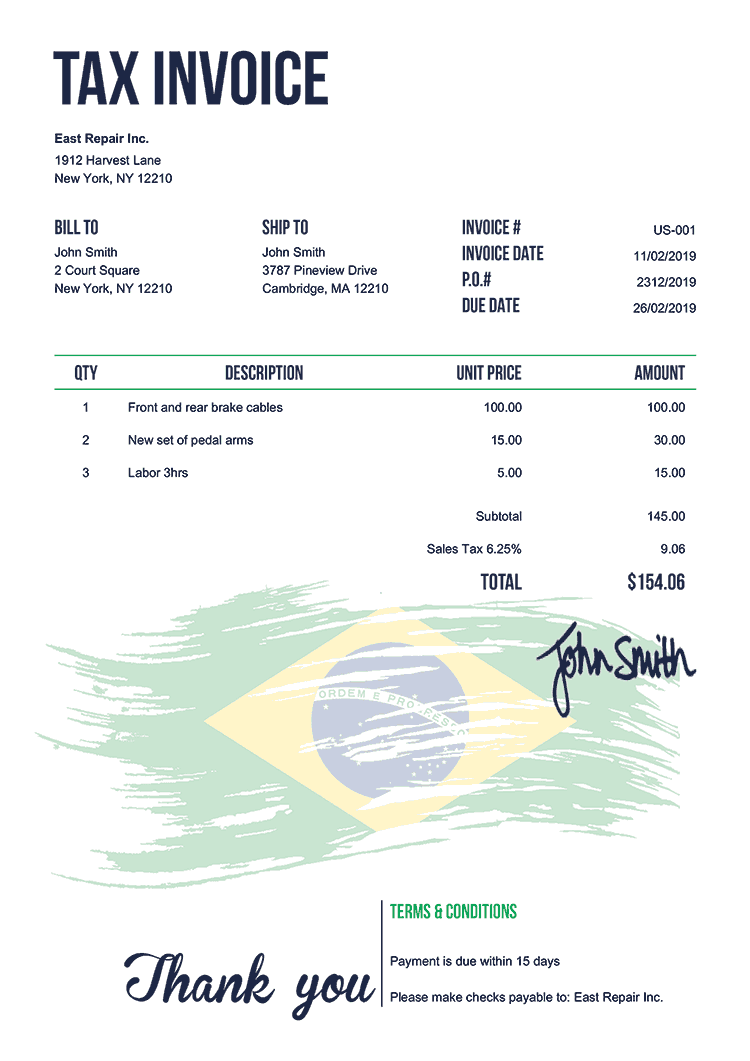 Tax Invoice Template Us Flag Of Brazil
