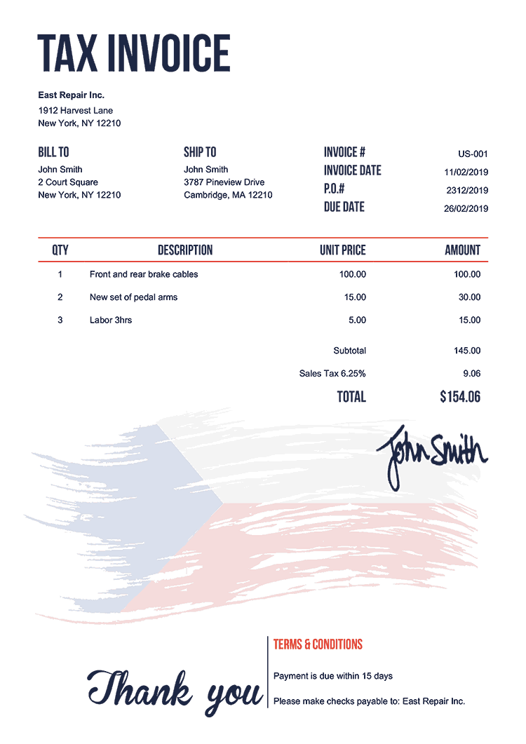 Tax Invoice Template Us Flag Of Czechia
