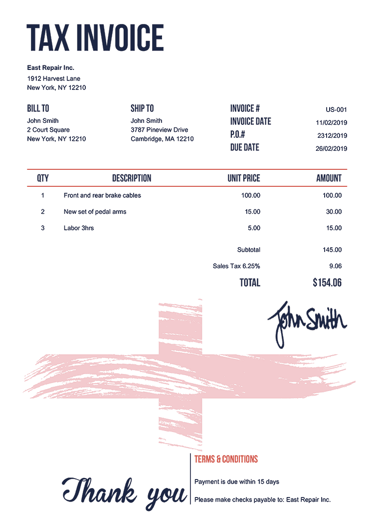 Tax Invoice Template Us Flag Of England