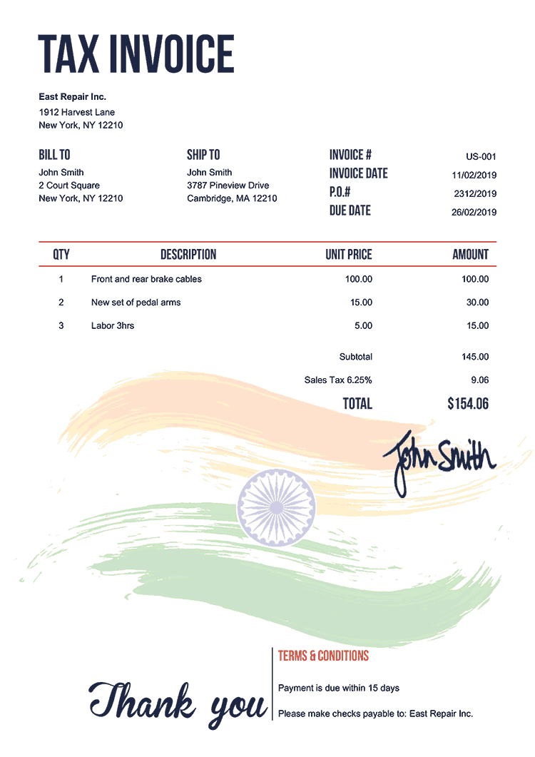Tax Invoice Template Us Flag Of India