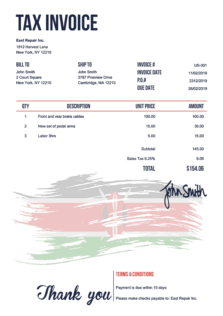 Tax Invoice Template Us Flag Of Kenya