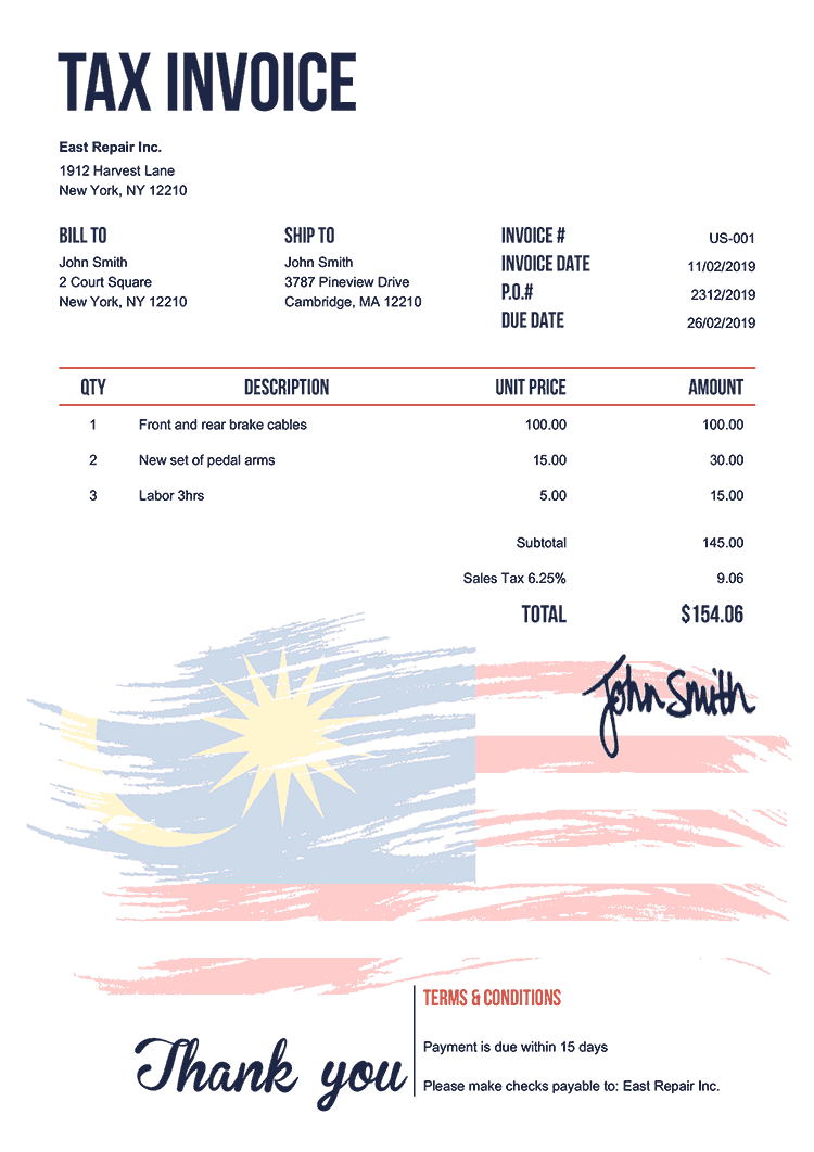 Tax Invoice Template Us Flag Of Malaysia