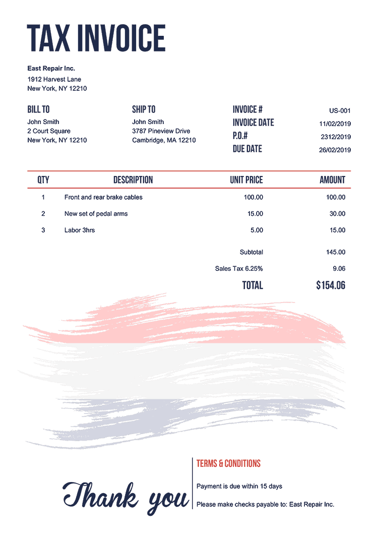 Tax Invoice Template Us Flag Of Netherland