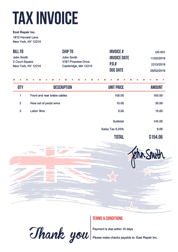 Tax Invoice Template Us Flag Of New Zealand