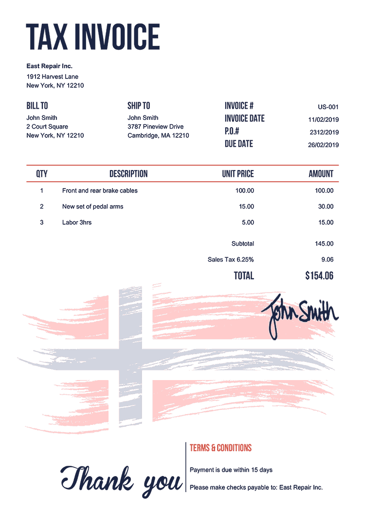 Tax Invoice Template Us Flag Of Norway