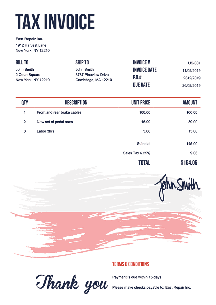 Tax Invoice Template Us Flag Of Poland