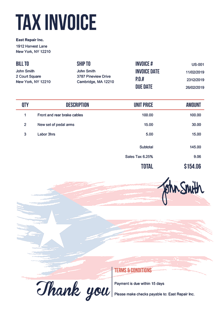 Tax Invoice Template Us Flag Of Puerto Rico