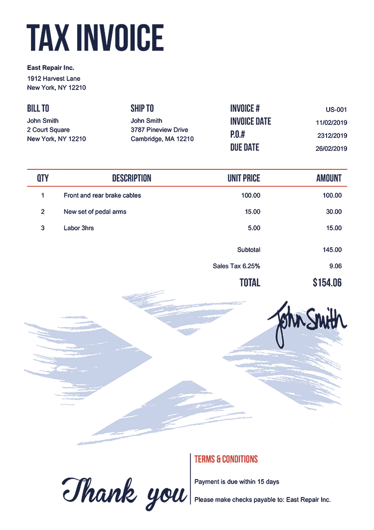 Tax Invoice Template Us Flag Of Scotland