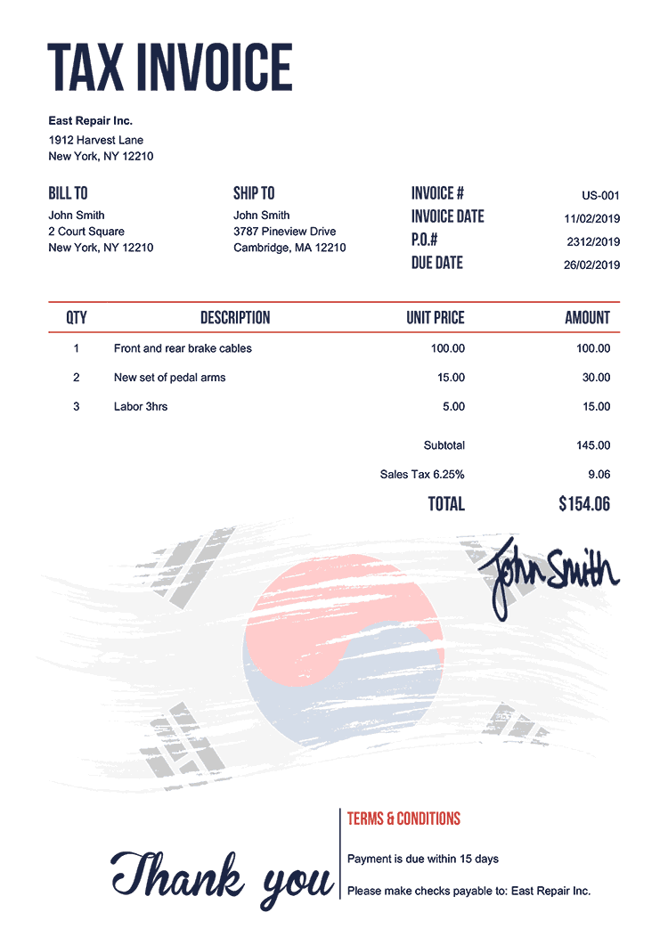 Tax Invoice Template Us Flag Of South Korea
