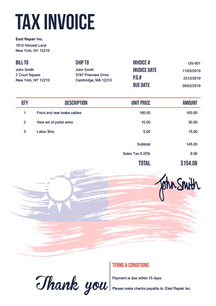 Tax Invoice Template Us Flag Of Taiwan