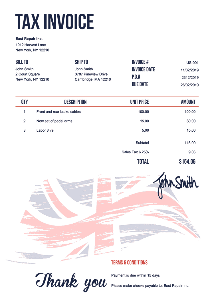 Tax Invoice Template Us Flag Of United Kingdom