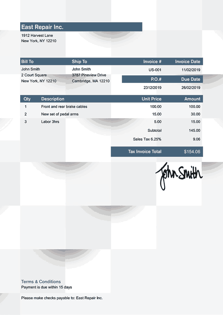 Tax Invoice Template Us Geometric Blue