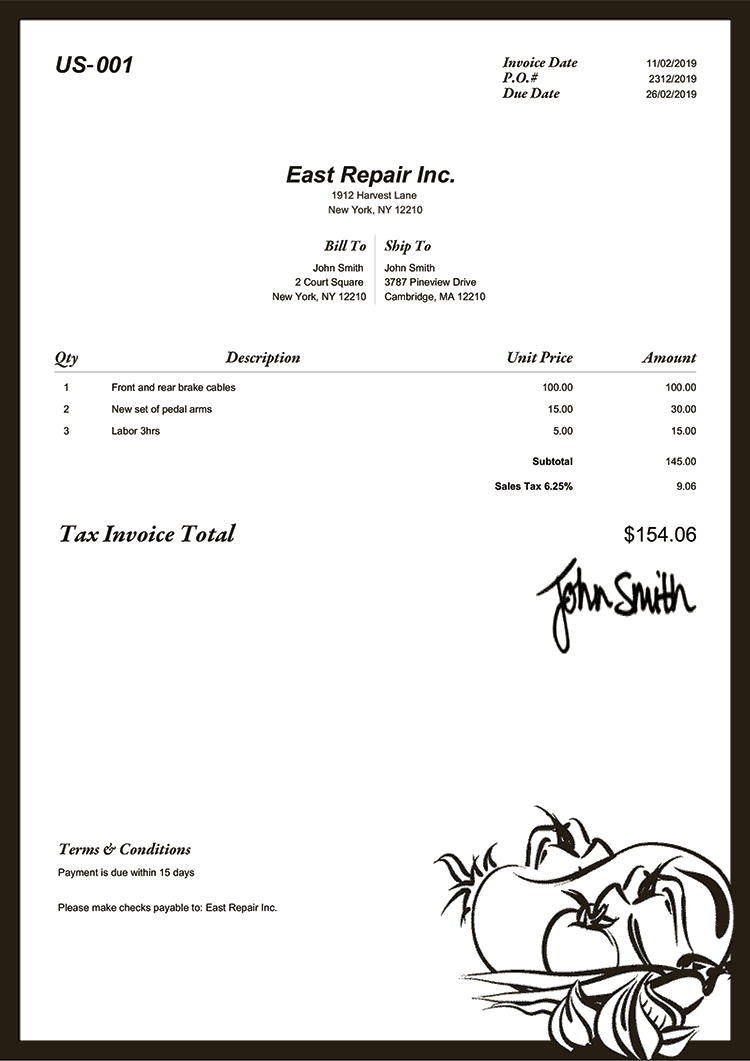 Tax Invoice Template Us Gourmet