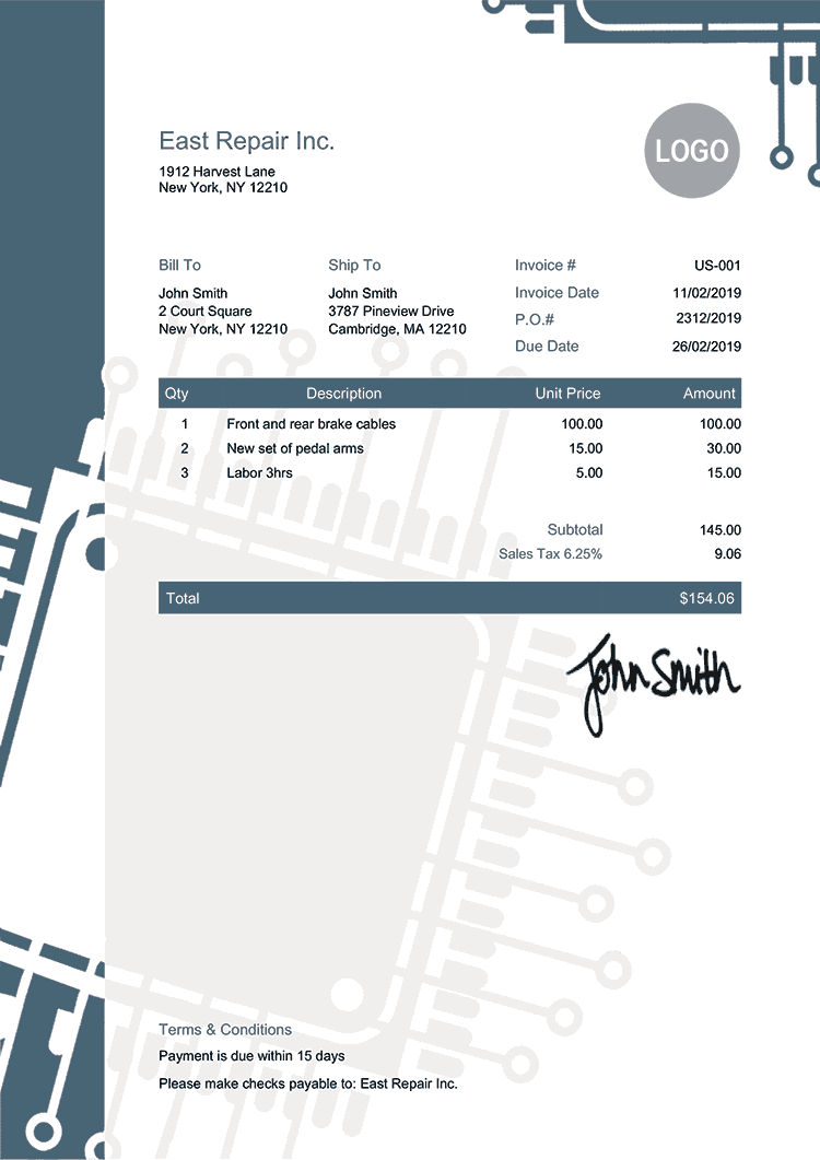 Tax Invoice Template Us Hightech
