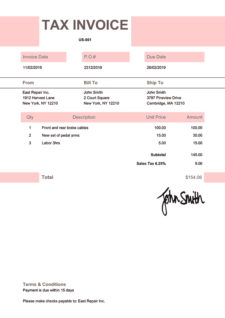 Tax Invoice Template Us Impact Pink