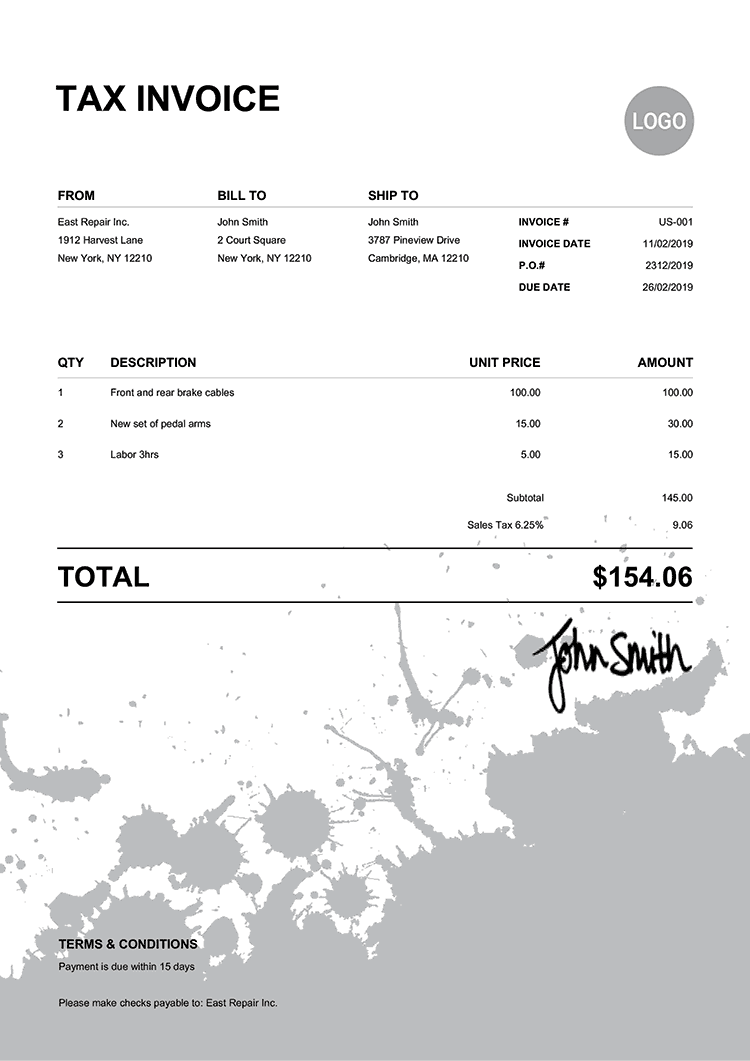 Tax Invoice Template Us Ink Blot Black