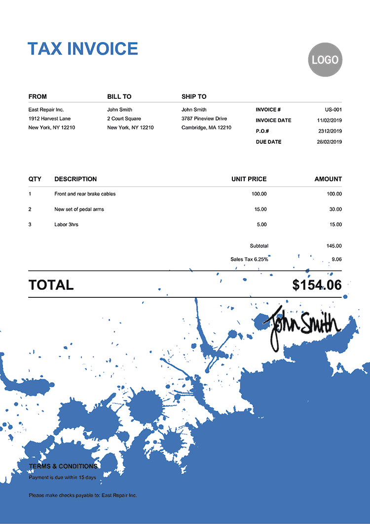 Tax Invoice Template Us Ink Blot Blue