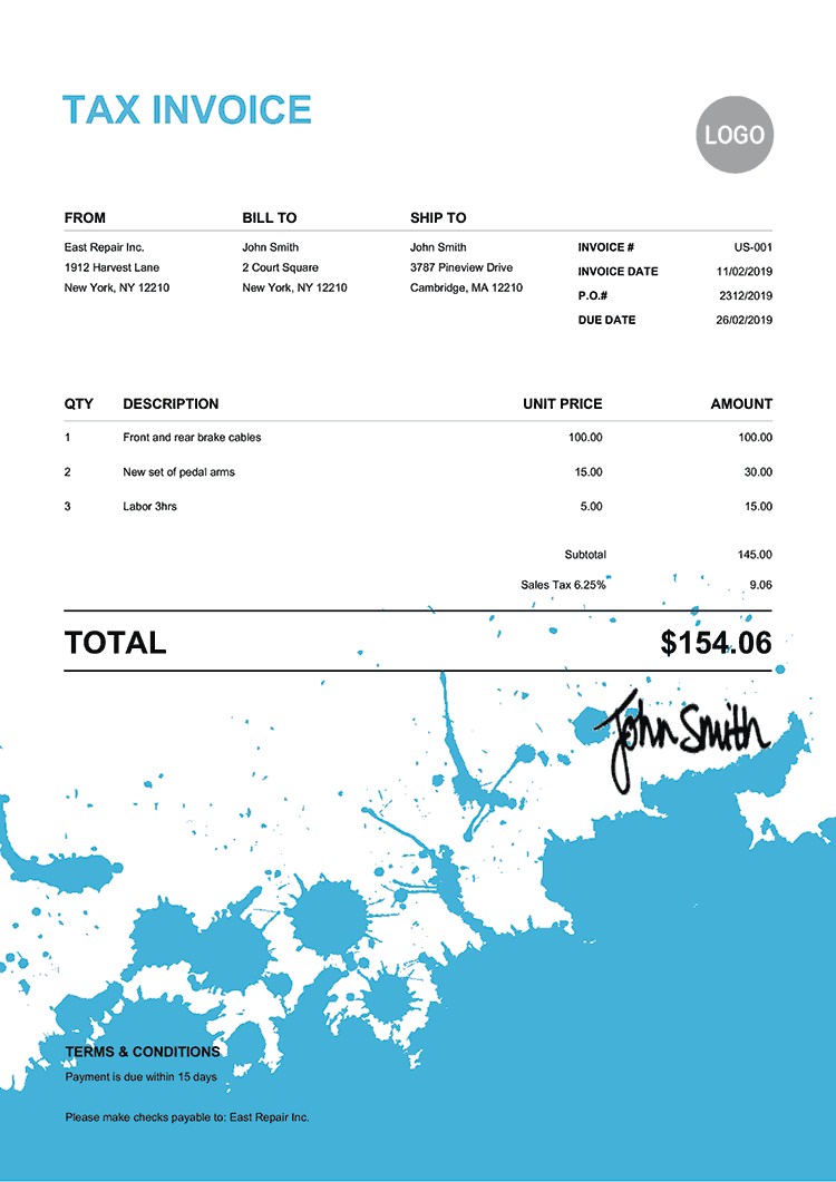 Tax Invoice Template Us Ink Blot Light Blue