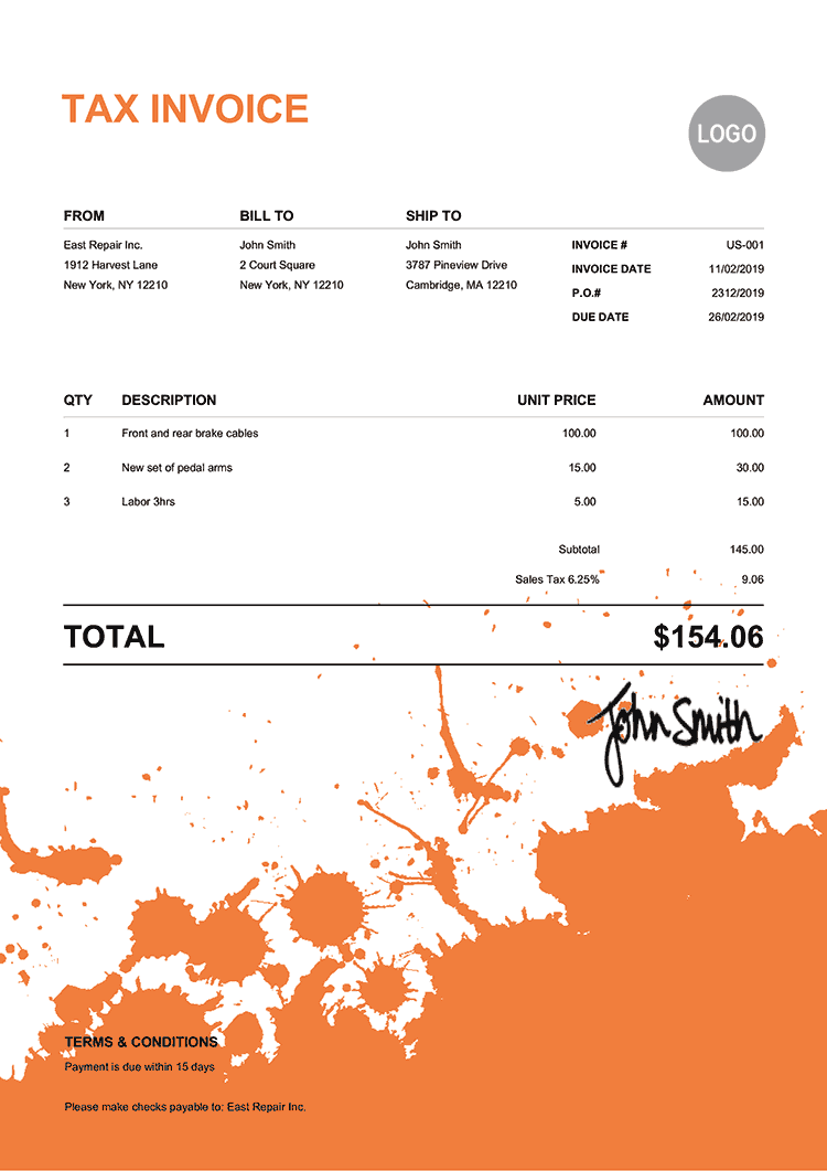 Tax Invoice Template Us Ink Blot Orange