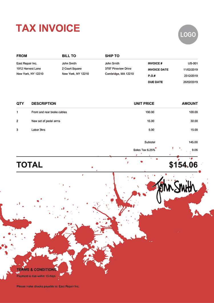 Tax Invoice Template Us Ink Blot Red