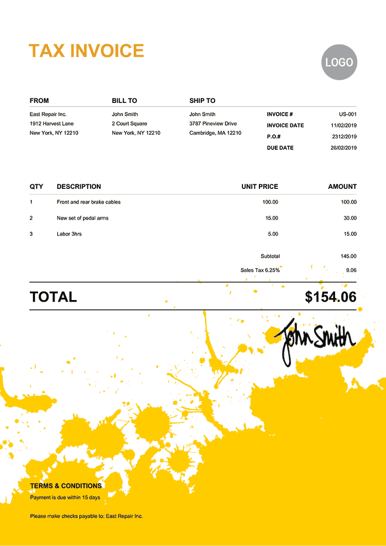 Tax Invoice Template Us Ink Blot Yellow