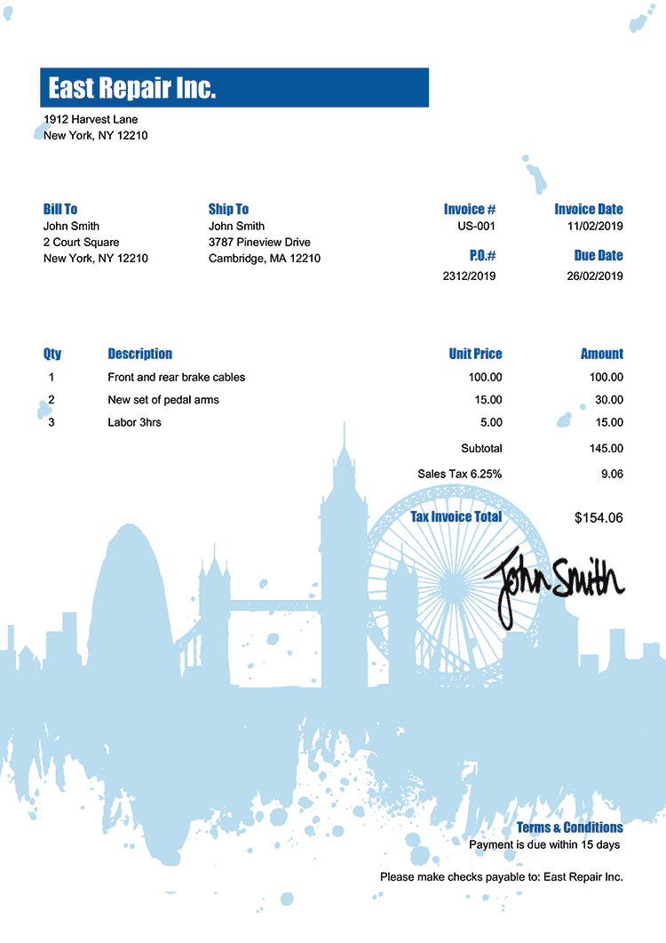 Tax Invoice Template Us London