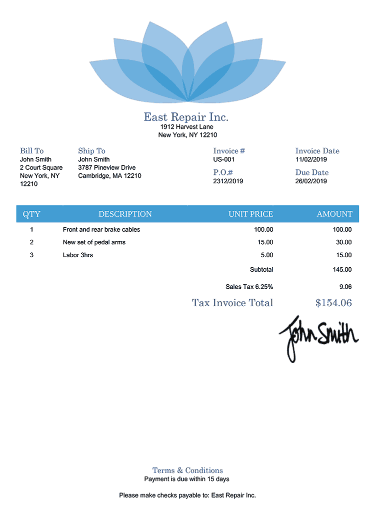 Tax Invoice Template Us Lotus Blue