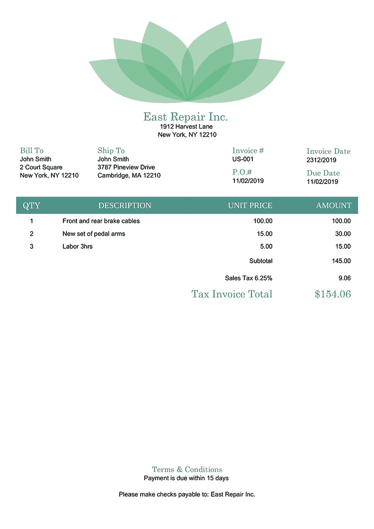 Tax Invoice Template Us Lotus Green No Logo