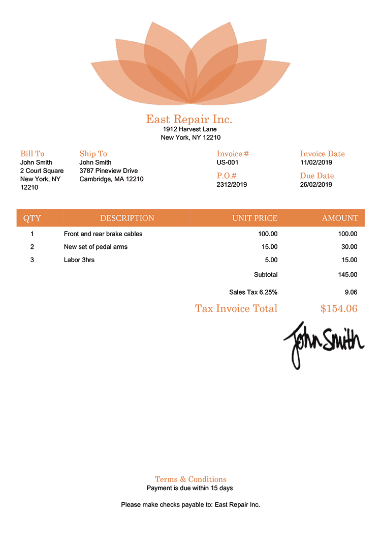 Tax Invoice Template Us Lotus Orange