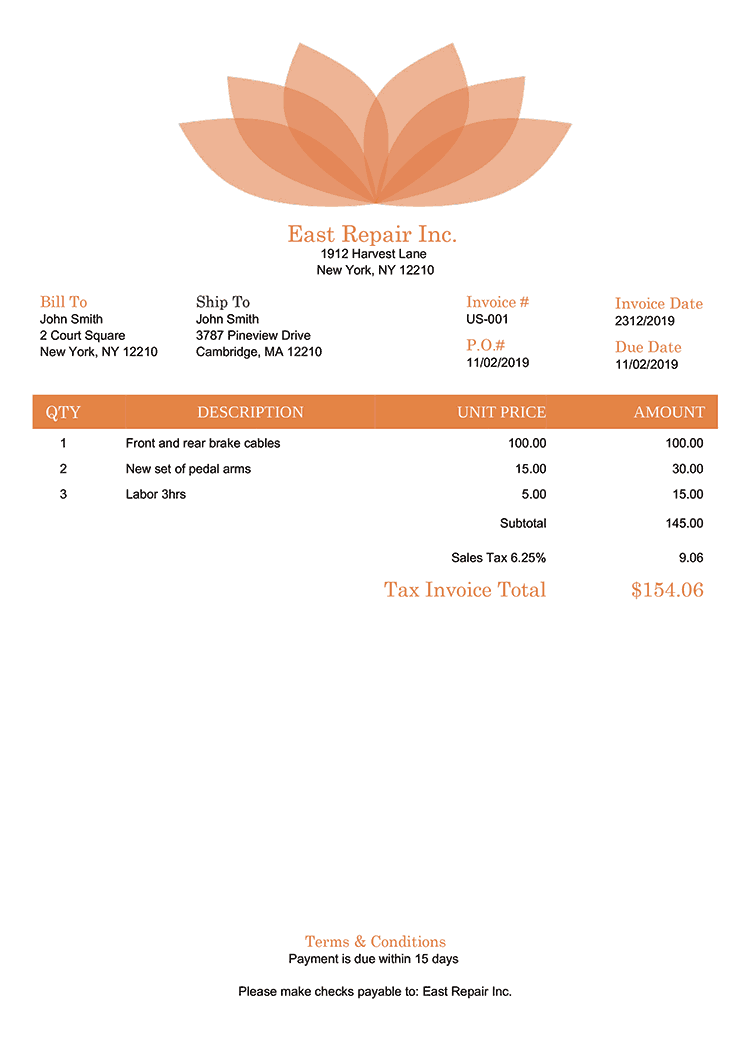 Tax Invoice Template Us Lotus Orange No Logo