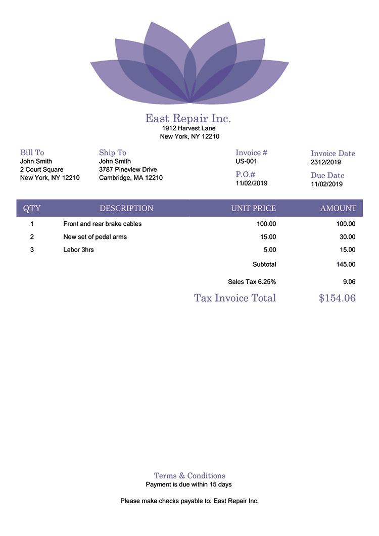 Tax Invoice Template Us Lotus Purple No Logo