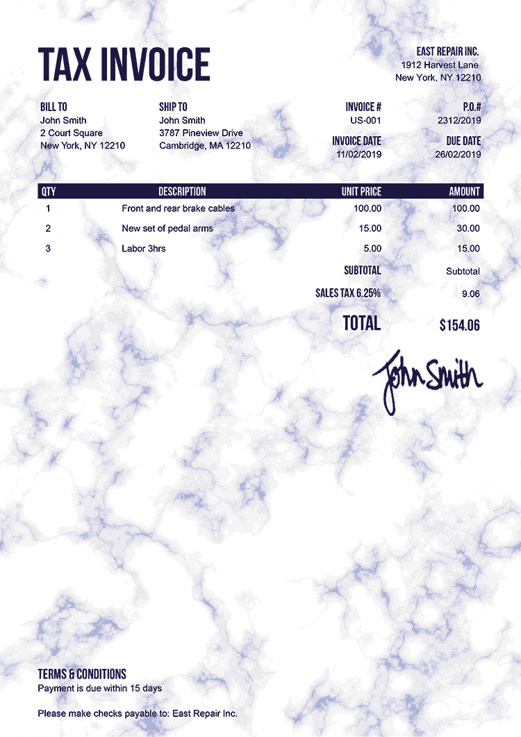 Tax Invoice Template Us Marble Blue
