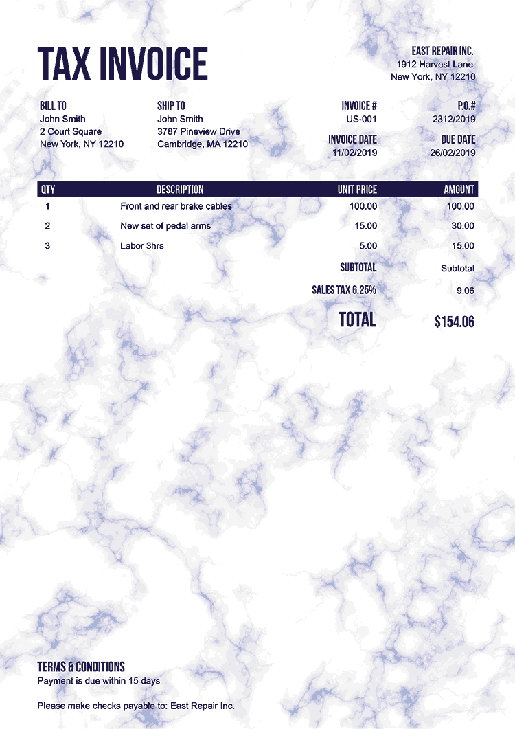 Tax Invoice Template Us Marble Blue No Logo