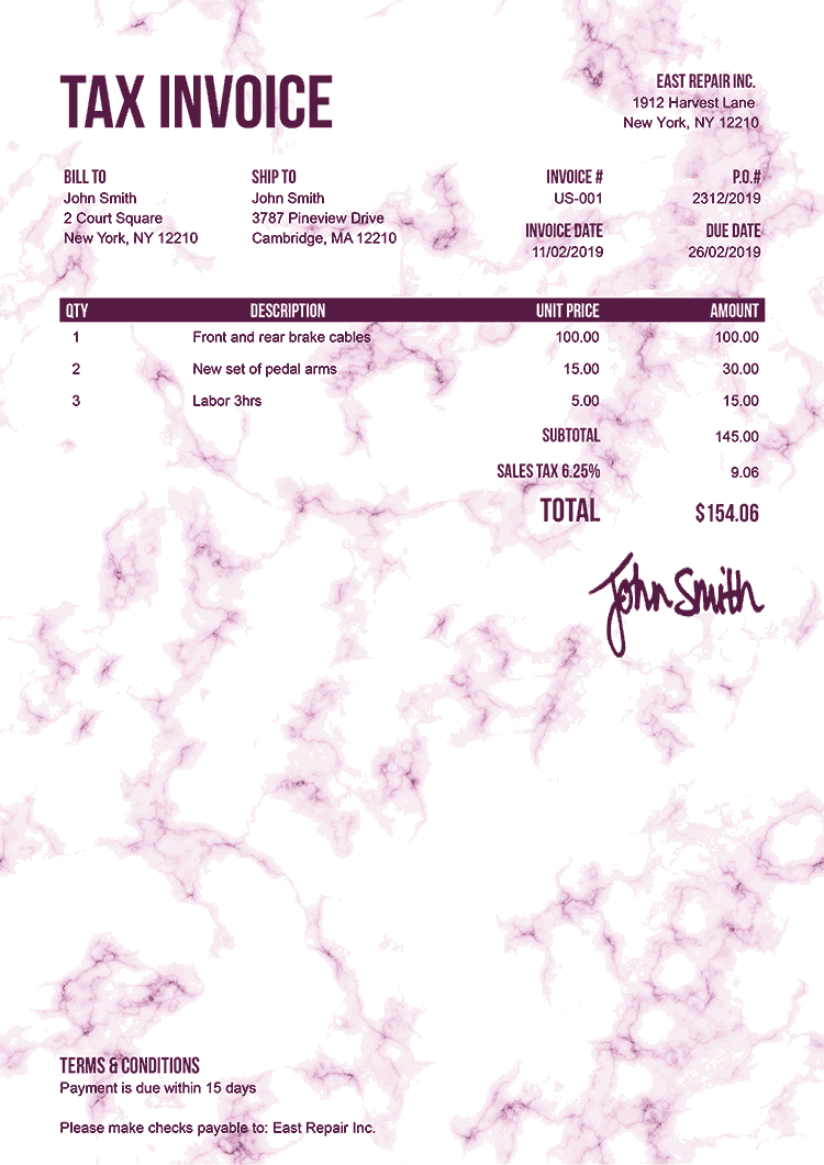 Tax Invoice Template Us Marble Pink