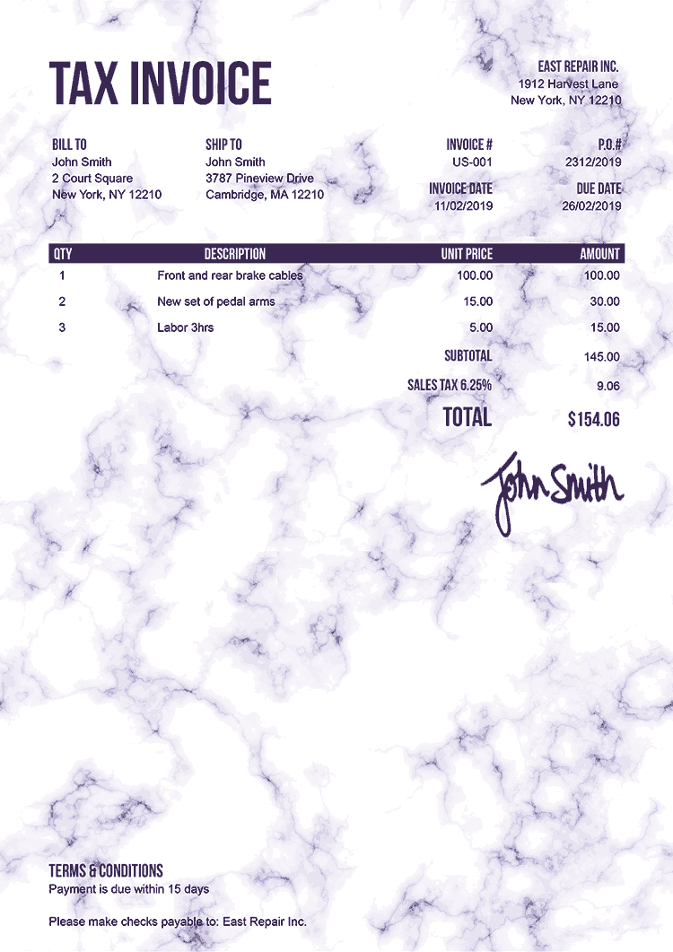 Tax Invoice Template Us Marble Purple