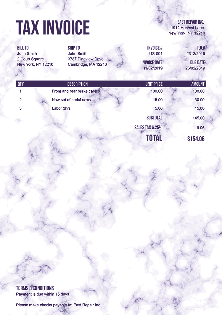 Tax Invoice Template Us Marble Purple No Logo