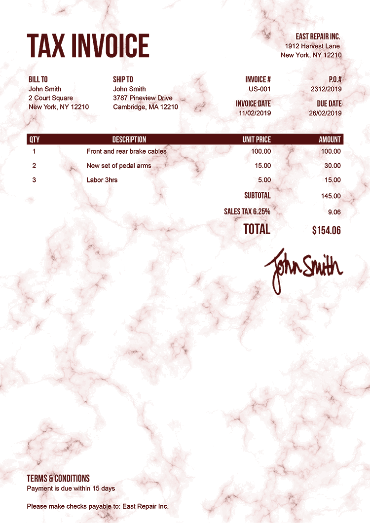 Tax Invoice Template Us Marble Red