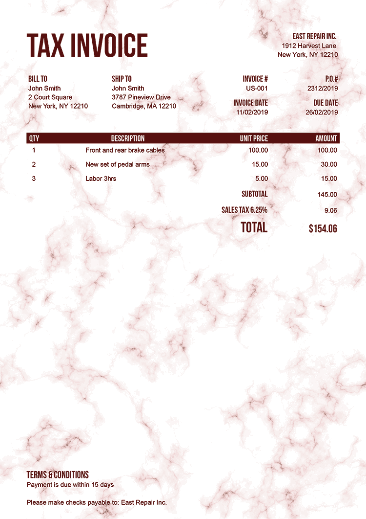 Tax Invoice Template Us Marble Red No Logo