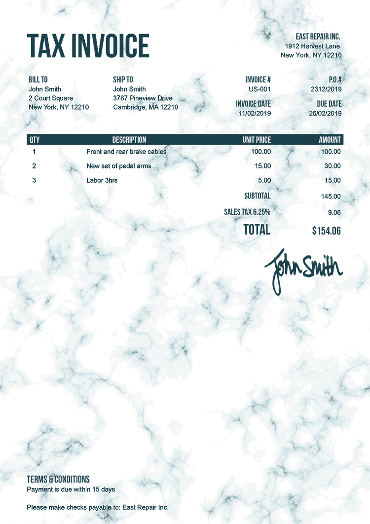 Tax Invoice Template Us Marble Teal
