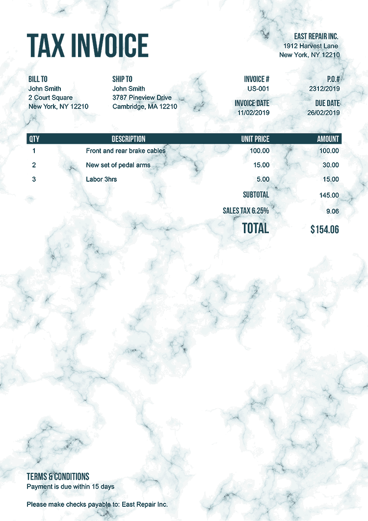 Tax Invoice Template Us Marble Teal No Logo